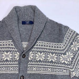J Crew Fair Isle shawl collar 100% wool grey cardigan sweater XL